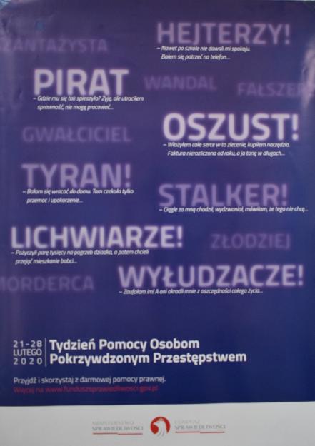 Plakat promujący Tydzień Pomocy Osobom Pokrzywdzonym Przestępstwem